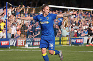 AFC Wimbledon midfielder Dean Parrett (18) celebrating after scoring goal to make it 1-0 during the EFL Sky Bet League 1 match between AFC Wimbledon and Bury at the Cherry Red Records Stadium, Kingston, England on 5 May 2018. Picture by Matthew Redman.