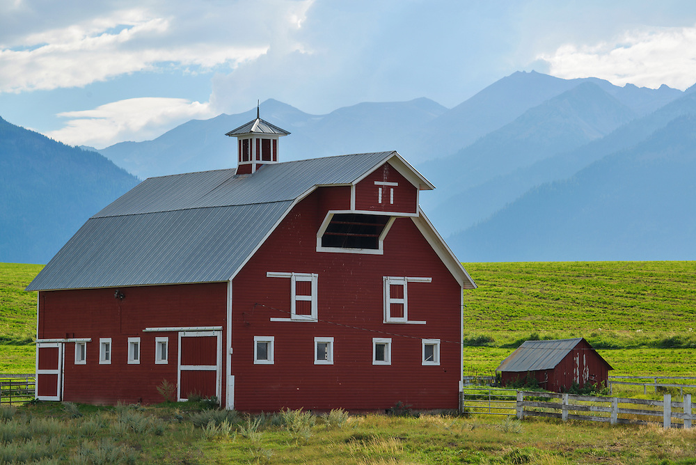 Barn and shed in Oregon's Wallowa Valley.
