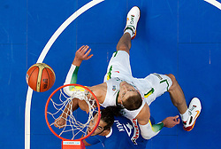 Joakim Noah of France vs Robertas Javtokas of Lithuania during basketball game between National basketball teams of Lithuania and France at FIBA Europe Eurobasket Lithuania 2011, on September 9, 2011, in Siemens Arena,  Vilnius, Lithuania. France defeated Lithuania 73-67.  (Photo by Vid Ponikvar / Sportida)