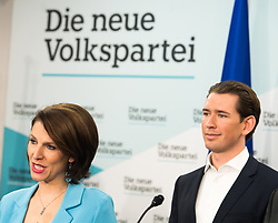 21.09.2019, Bundesparteizentrale, Wien, AUT, ÖVP, Pressekonferenz nach Bundesparteivorstand mit Kandidatenliste für die EU-Wahl. im Bild Staatssekretärin im Innenministerium und EU-Wahl Kandidatin Karoline Edtstadler (ÖVP) und Bundeskanzler Sebastian Kurz (ÖVP) // Austrian State Secretary of the Interior Ministry Karoline Edstadler and Austrian Federal Chancellor Sebastian Kurz during presentation of the candidates for Eurpean Parliment Elections of the Austrian People' s Party in Vienna, Austria on 2019/01/21. EXPA Pictures © 2019, PhotoCredit: EXPA/ Michael Gruber