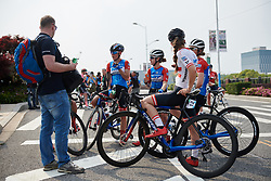 WNT Rotor Pro Cycling discuss the stage after Tour of Chongming Island 2019 - Stage 1, a 102.7 km road race on Chongming Island, China on May 9, 2019. Photo by Sean Robinson/velofocus.com