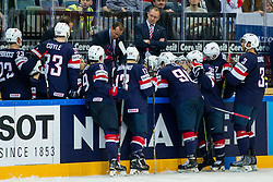 Todd Richards, head coach of USA with players during Ice Hockey match between USA and Russia at Semifinals of 2015 IIHF World Championship, on May 16, 2015 in O2 Arena, Prague, Czech Republic. Photo by Vid Ponikvar / Sportida
