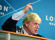 © Licensed to London News Pictures. 28/08/2012. Westminster, UK London Mayor Boris Johnson at a Media Briefing on Security and Transport Readiness at The London 2012 Paralympic Games today 28 August 2012. Photo credit : Stephen Simpson/LNP