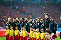 LILLE, FRANCE - Friday, July 1, 2016: Wales players line up ahead of the the UEFA Euro 2016 Championship Quarter-Final match against Belgium at the Stade Pierre Mauroy. Aaron Ramsey, Chris Gunter, Gareth Bale, Hal Robson-Kanu, Joe Ledley, Ben Davies, Joe Allen, James Chester, Neil Taylor, Wales goalkeeper Wayne Hennessey and captain Ashley Williams. (Pic by Paul Greenwood/Propaganda)