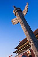 Ornamental marble columns outside Beijing's Forbidden City.