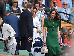 Duchess of Cambridge, Duchess of Sussex and Pippa Middleton Matthews in the royal box, during the day twelve of the Wimbledon Championships at the All England Lawn Tennis and Croquet Club, Wimbledon, in London, UK, on Saturday July 13, 2019. Photo by Corinne Dubreuil/ABACAPRESS.COM