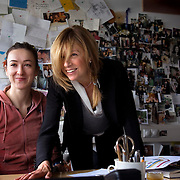 Russian VOGUE editor Alyona Doletskaya (right) with her colleague at the VOGUE editorial office in Moscow, Russia.