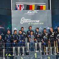 1) #77, Porsche,  Dempsey-Proton Racing 2) #90, Aston Martin, TF Sport, 3) #56, Porsche, Team Project 1 at Silverstone 6h, 2018 on 19/08/18