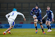 Sale Sharks lock JP Du Preez makes a break during a Gallagher Premiership Round 9 Rugby Union match, Friday, Feb 12, 2021, in Leicester, United Kingdom. (Steve Flynn/Image of Sport)