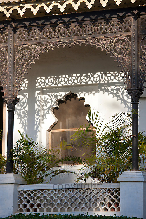 Iron facade at Rawla Narlai, 17th Century merchant's house now a luxury heritage hotel in Narlai, Rajasthan, Northern India