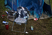 Star Wars camp chair in the Shangri La field, Glastonbury Festival 2016. The Glastonbury Festival is the largest greenfield festival in the world, and is now attended by around 175,000 people. Its a five-day music festival that takes place near Pilton, Somerset, United Kingdom. In addition to contemporary music, the festival hosts dance, comedy, theatre, circus, cabaret, and other arts. Held at Worthy Farm in Pilton, leading pop and rock artists have headlined, alongside thousands of others appearing on smaller stages and performance areas.