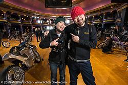 Photographer Kazuo Matsumoto and Custom Works Zon's Yuichi Yoshizawa at the Mama Tried Show. Milwaukee, WI. USA. Sunday February 25, 2018. Photography ©2018 Michael Lichter.