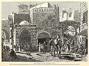 The Street of Damascus Gate, Jerusalem from the book Picturesque Palestine, Sinai, and Egypt By  Colonel Wilson, Charles William, Sir, 1836-1905. Published in New York by D. Appleton and Company in 1881  with engravings in steel and wood from original Drawings by Harry Fenn and J. D. Woodward Volume 1