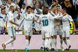 Real Madrid celebrate a goal during the La Liga Santander match between Real Madrid CF and Sevilla FC on December 09, 2017 at the Santiago Bernabeu stadium in Madrid, Spain.