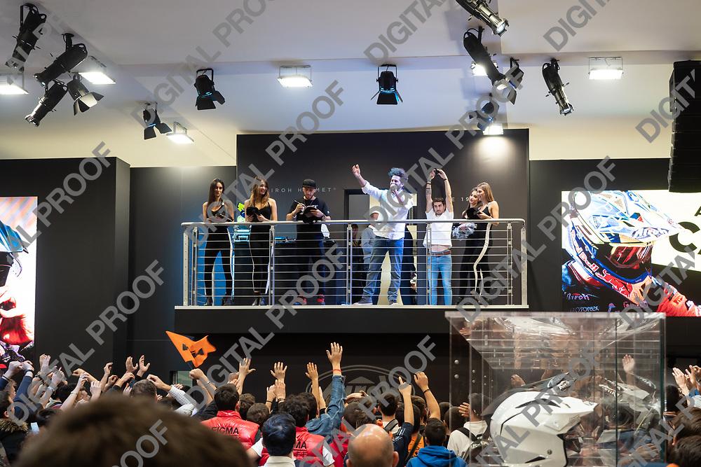 RHO Fieramilano, Milan Italy - November 07, 2019 EICMA Expo. Antonio Cairoli nine-time Grand Prix motocross world champion is on stage at EICMA 2019