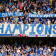 Chelsea fans celebrate during the Chelsea Victory Parade at Eelbrook Common, London to celebrate the club winning the Premier League Title 2015.<br /> Picture by Jack Megaw/Focus Images Ltd +44 7481 764811<br /> 25/05/2015