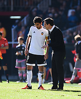 Valencia CF's  coach Gary Neville and Daniel Parejo  during La Liga match. January 17, 2016. (ALTERPHOTOS/Javier Comos)