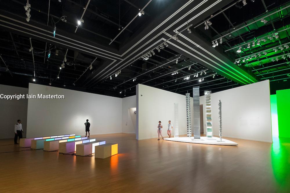Exhibition Seeing Through Light with selections from the Guggenheim Abu Dhabi Collection on display at Manarat Al Saadiyat Cultural District on Saadiyat Island in Abu Dhabi United Arab Emirates