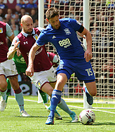 Lukas Jutkiewicz of Birmingham battles with Alan Hutton of Aston Villa .EFL Skybet championship match, Aston Villa v Birmingham city at Villa Park in Birmingham, The Midlands on Sunday 23rd April 2017.<br /> pic by Bradley Collyer, Andrew Orchard sports photography.