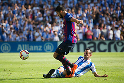 September 15, 2018 - Juanmi of Real Sociedad and Luis Suarez of FC Barcelona in action during the match played in Anoeta Stadium between Real Sociead and FC Barcelona in San Sebastian, Spain, at Sept. 15th 2018. Photo UGS/AFP7 (Credit Image: © AFP7 via ZUMA Wire)