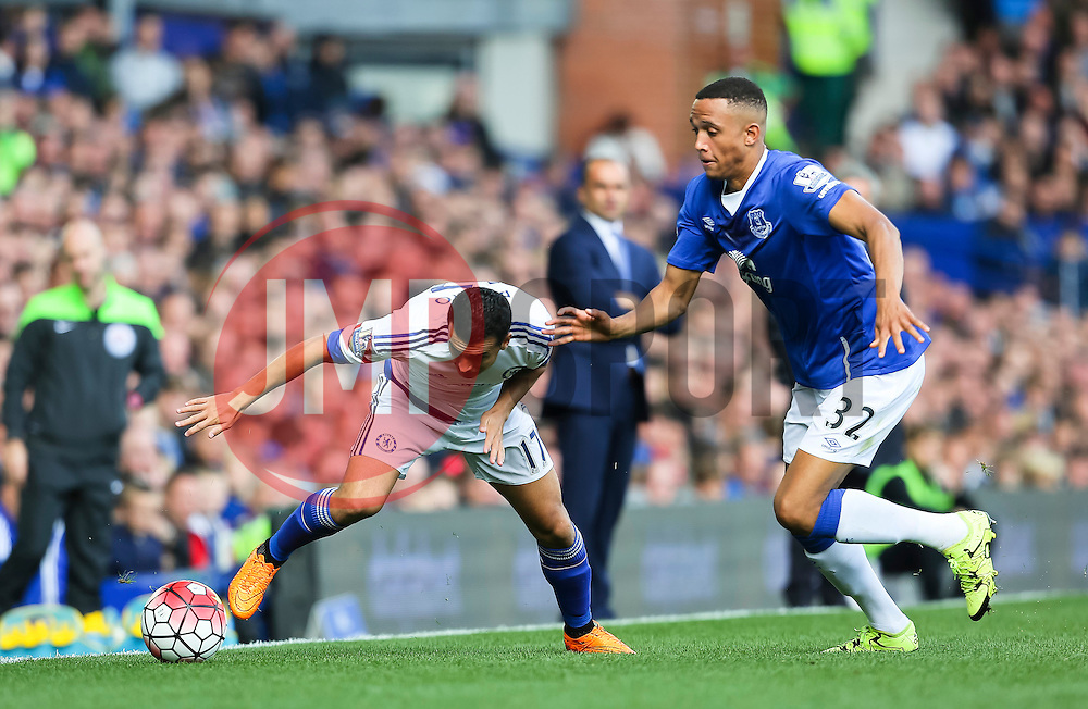 Pedro Rodriguez of Chelsea and Everton's Brendan Galloway  - Mandatory byline: Matt McNulty/JMP - 07966386802 - 12/09/2015 - FOOTBALL - Goodison Park -Everton,England - Everton v Chelsea - Barclays Premier League