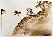 scenic Japanese mountain top landscape with temple building ca 1930s