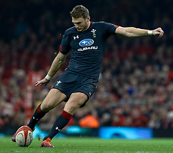 Dan Biggar of Wales kicks at goal<br /> <br /> Photographer Simon King/Replay Images<br /> <br /> Under Armour Series - Wales v Tonga - Saturday 17th November 2018 - Principality Stadium - Cardiff<br /> <br /> World Copyright © Replay Images . All rights reserved. info@replayimages.co.uk - http://replayimages.co.uk