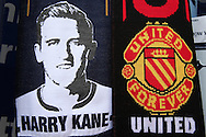 a Harry Kane of Tottenham Hotspur scarf and Manchester United scarf on sale outside White Hart Lane Stadium before k/o. Barclays Premier league match, Tottenham Hotspur v Manchester Utd at White Hart Lane in London on Sunday 10th April 2016.<br /> pic by John Patrick Fletcher, Andrew Orchard sports photography.