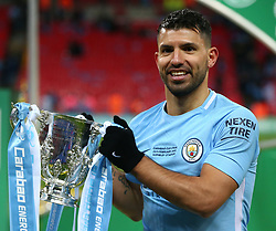 February 25, 2018 - London, England, United Kingdom - Manchester City's Sergio Aguero with Trophy.during Carabao Cup Final match between Arsenal against Manchester City at Wembley stadium, London  England on 25 Feb 2018. (Credit Image: © Kieran Galvin/NurPhoto via ZUMA Press)