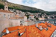 Red tile roofs above the harbor, Dubrovnik, Dalmatian Coast, Croatia