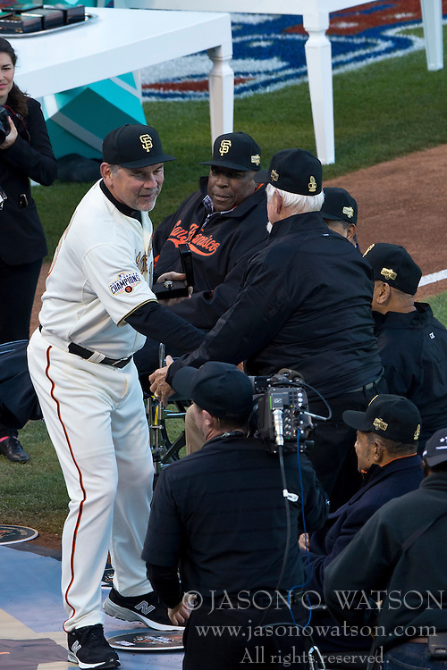 SAN FRANCISCO, CA - APRIL 18:  Bruce Bochy #15 of the San Francisco Giants shakes hands with Gaylord Perry during the 2014 World Series ring ceremony before the game against the Arizona Diamondbacks at AT&T Park on April 18, 2015 in San Francisco, California.  The San Francisco Giants defeated the Arizona Diamondbacks 4-1. (Photo by Jason O. Watson/Getty Images) *** Local Caption *** Bruce Bochy; Gaylord Perry