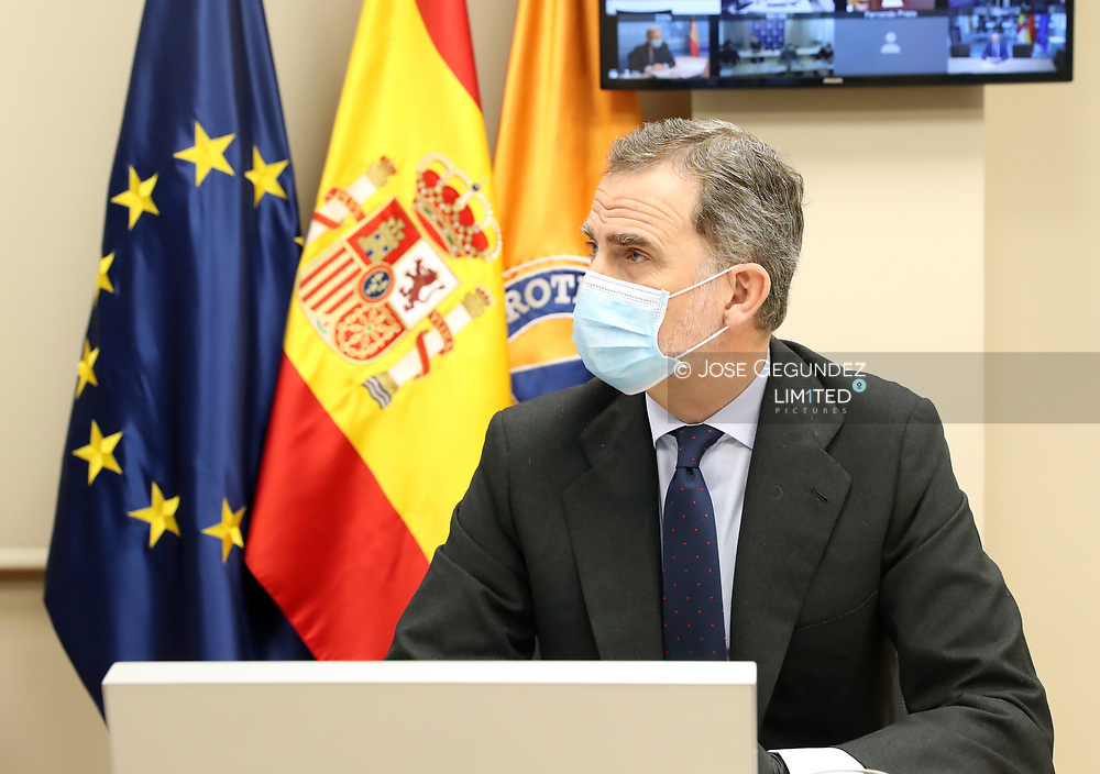 King Felipe VI of Spain visits National Center for Monitoring and Coordination of Emergencies (CENEM) on May 14, 2020 in Madrid, Spain