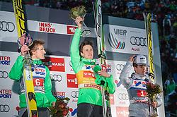 03.01.2016, Bergisel Schanze, Innsbruck, AUT, FIS Weltcup Ski Sprung, Vierschanzentournee, Siegerehrung, im Bild v.l.: Severin Freund (GER, 2. Platz), Sieger Peter Prevc (SLO) und Kenneth Gangnes (NOR, 3. Platz) // f.l.: 2nd placed Severin Freund of Germany, Winner Peter Prevc of Slovenia and 3rd placed Kenneth Gangnes of Norway during Award ceremony of Four Hills Tournament of FIS Ski Jumping World Cup at the Bergisel Schanze, Innsbruck, Austria on 2016/01/03. EXPA Pictures © 2016, PhotoCredit: EXPA/ JFK