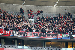 29.10.2011, Allianz Arena, Muenchen, GER, 1.FBL,  FC Bayern Muenchen vs 1. FC Nuernberg, im Bild Die Nuernberger Fans begrussen ihre Mannschaft  // during the match FC Bayern Muenchen vs 1. FC Nuernberg, on 2011/10/29, Allianz Arena, Munich, Germany, EXPA Pictures © 2011, PhotoCredit: EXPA/ nph/  Straubmeier       ****** out of GER / CRO  / BEL ******