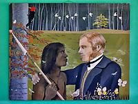 """Painting at Hosteria Los Notros """"Despedida de Charles Darwin y Jemmy Button 1834"""". Hosteria Los Notros"""