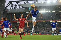 10th December 2017 - Premier League - Liverpool v Everton - Dominic Calvert-Lewin of Everton leaps to control the ball - Photo: Simon Stacpoole / Offside.