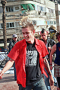 Israel, Tel Aviv, A punk male with a Mohawk hair cut