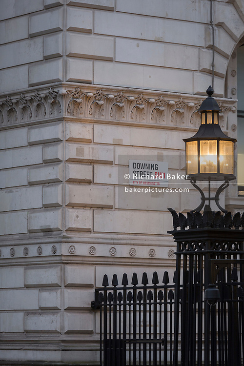 As Prime Minister Theresa May negotiates Brexit issues and members of her own Conservative government continue to resign in response to her presentation of the current terms, the light on Downing Street's reinforced security railings shines onto the walls of Whitehall, on 15th November 2018, in London, England. (Photo by Richard Baker / In Pictures via Getty Images)