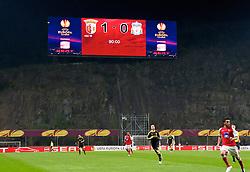 BRAGA, PORTUGAL, Thursday, March 10, 2011: The scoreboard records Liverpool's 1-0 defeat to Sporting Clube de Braga during the UEFA Europa League Round of 16 1st leg match at the Estadio Municipal de Braga. (Photo by David Rawcliffe/Propaganda)