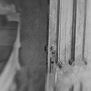 Distressed Wood Door Interior - Bodie, CA - Lensbaby - Black & White