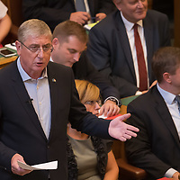 Ferenc Gyurcsany (L) former prime minister of Hungary replies to the speech about the Sargentini Report of Viktor Orban (not in picture) prime minister of Hungary during the Plenary session of the Hungarian Parliament in Budapest, Hungary on Sept. 17, 2018. ATTILA VOLGYI