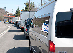 © under license to London News Pictures.  19/03/2011. Traffic queues for fuel at a filling station near Tagajo, a suburb of Sendai, Japan today (19/03/2011). The roads leading to the north have been reserved solely for vehicles that have government permission. Photo credit should read LNP