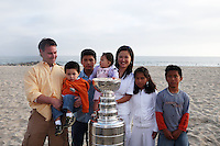 17 June 2007:  Portrait of family, friends and hockey players on the sand in Newport Beach, CA on Fathers Day with the NHL Stanley Cup for the Hockey News courtesy of the Hockey Hall of Fame.  PERSONAL USE ONLY!!!!!!!