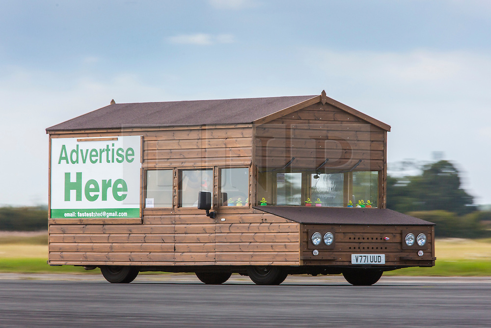 © Licensed to London News Pictures. 19/09/2015. York, UK. Picture shows Kevin Nick's two ton motorised garden shed at the Starightliners speed weekend that has taken place at Elvington Airfield near York today were a motorised shed, Jet car & motorbikes attempt new British speed records. Photo credit: Andrew McCaren/LNP