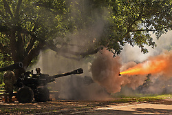 May 21, 2019 - Baton Rouge, Louisiana, U.S. - The Louisiana National Guard's 1st Battalion, 141st Field Artillery Regiment fires a Howitzer as part of a 19 cannon salute for Gov. John Bel Edwards at a ceremony dedicating a monument memorializing fallen Louisiana Guardsmen at Louisiana Veterans Memorial Park in Baton Rouge, Louisiana, May 21, 2019. (Credit Image: ? U.S. Army/ZUMA Wire/ZUMAPRESS.com)