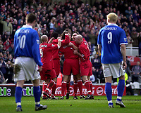 Photo. Glyn Thomas.<br /> Middlesbrough v Birmingham City.<br /> FA Barclaycard Premiership.<br /> Riverside Stadium, Middlesbrough. 20/03/2004.<br /> Boro players congratulate Gareth Southgate (C) after he scored their third while Mikael Forssell (R) and Bryan Hughes look on dejectedly.