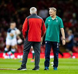 Head Coach Joe Schmidt of Ireland with Head Coach Warren Gatland of Wales during the pre match warm up<br /> <br /> Photographer Simon King/Replay Images<br /> <br /> Friendly - Wales v Ireland - Saturday 31st August 2019 - Principality Stadium - Cardiff<br /> <br /> World Copyright © Replay Images . All rights reserved. info@replayimages.co.uk - http://replayimages.co.uk