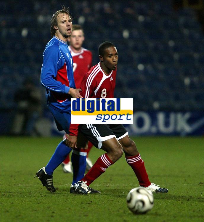 Photo: Chris Ratcliffe.<br /> Iceland v Trinidad and Tobago. International Friendly. 28/02/2006.<br /> Ricky Shakes in action for Trinidad &Tobago against Iceland