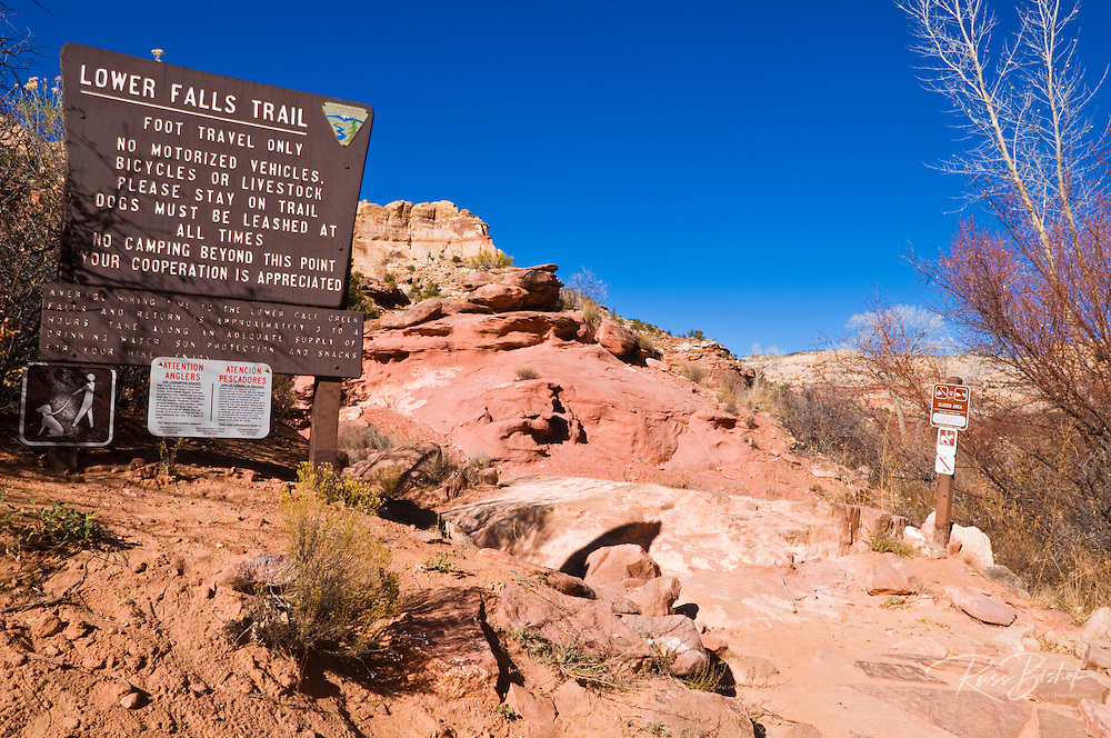 Sign at the lower Calf Creek Falls trail, Grand Staircase-Escalante National Monument, Utah