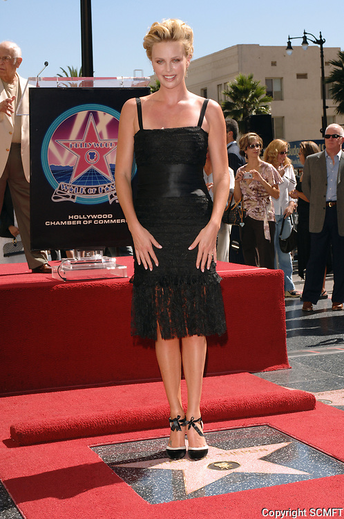 2005 Charlize Theron at her Hollywood Walk of Fame ceremony.